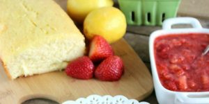 Featured Image Lemon Pound Cake with Macerated Strawberries  thecasualcraftlete.com for thecraftingchicks.com