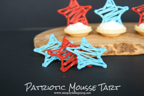 Patriotic Mousse Tart with Chocolate Star  |  These look complicated but are really very simple!  Pinning for later!  | #4thofjuly #stars #memorialday #recipe #desserts