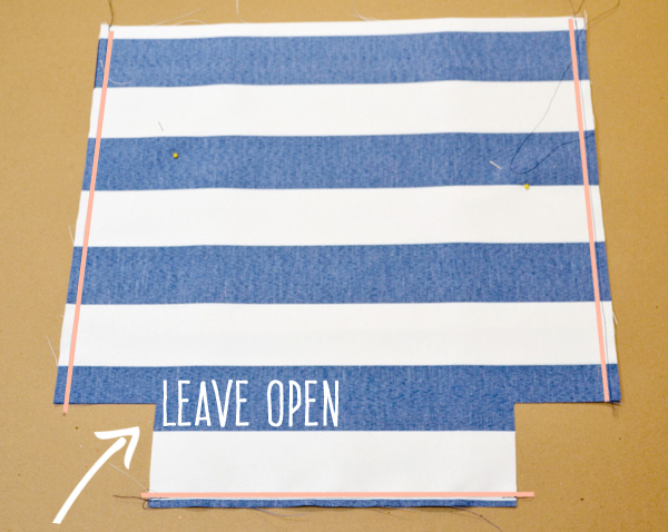 leave notches for tote bag