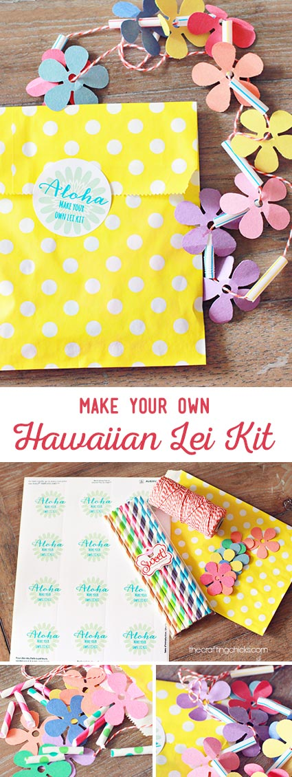 Make Your Own Hawaiian Lei Kit - cute for a party invite
