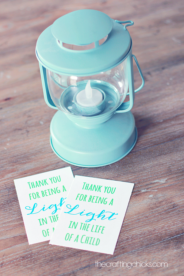 Lantern or Light Teacher Gift Idea with free printable