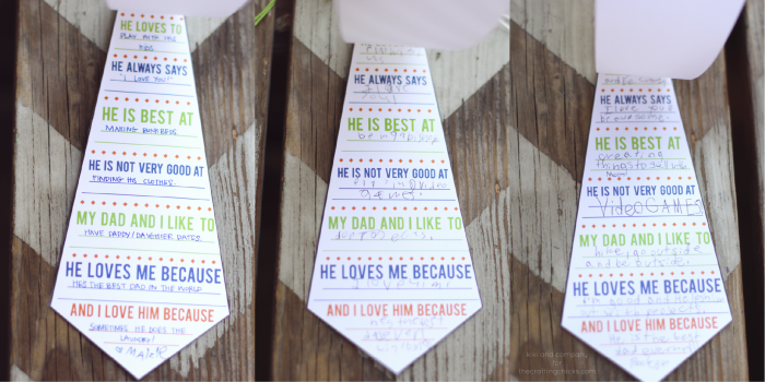 Printable Daddy Ties. I can't wait to see what my kids say. #fathersday
