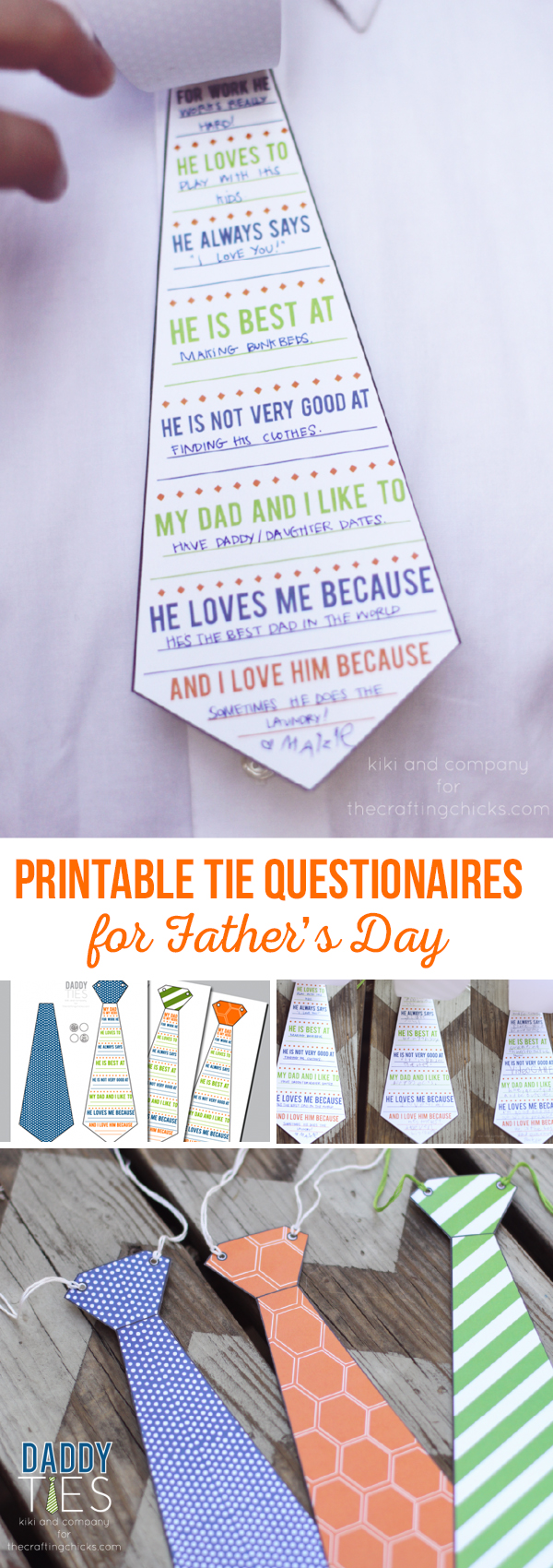 Printable Tie Questionaires for Father's Day