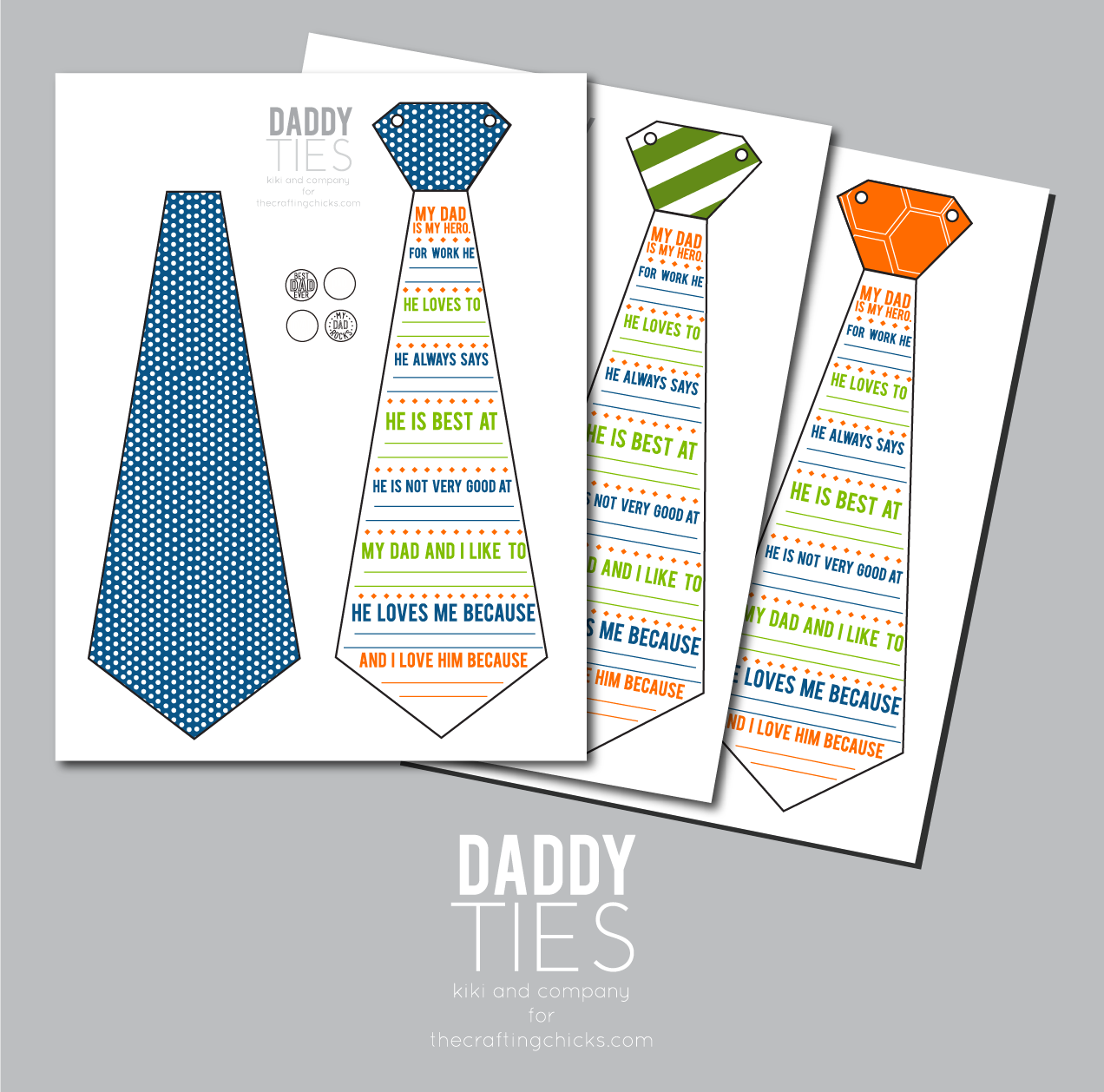 photograph regarding Father's Day Tie Template Printable named Daddy Ties- A Fathers Working day Printable Card - Kiki Business enterprise