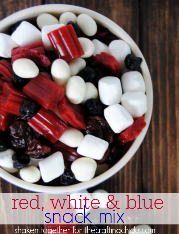 Fruity red, white and blue snack mix for Summer - perfect to package up for fire work watching!