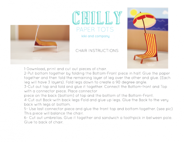 Chair instructions for Chilly Paper Tots..frozen inspired play set