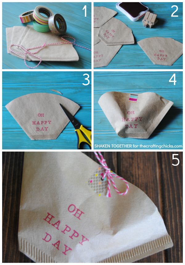 How to make coffee filter party favors