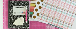 featured image Material for making a DIY Scrapbook Paper Notebook by www.thecasualcraflete.com