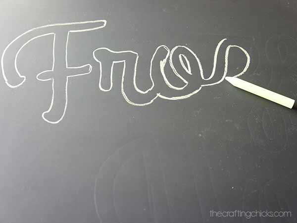 fro yo chalkboard outline