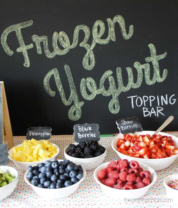 frozen yogurt topping bar