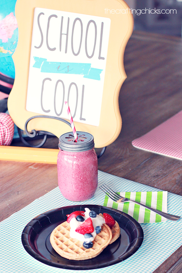 Back to School Breakfast Waffle Bar and Smoothies