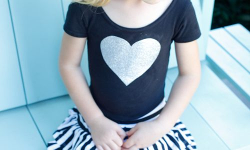 Easy Iron-On Glitter Heart Leotard