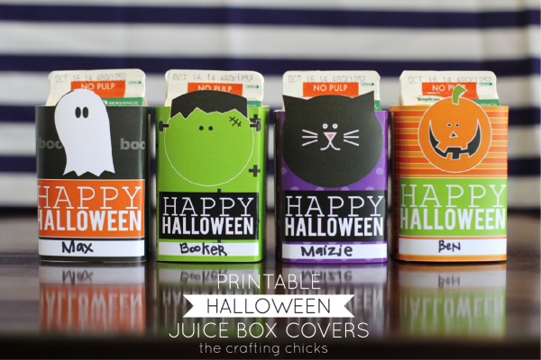 Printable Halloween Juice Box covers at the crafting chicks. LOVE these.  So fun for a class party!