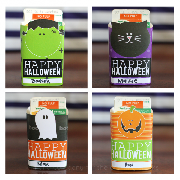 Printable Halloween Juice Box covers at the crafting chicks. Perfect for Halloween parties!