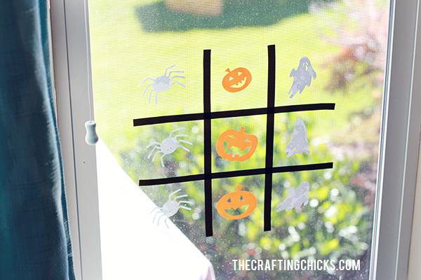 DIY Halloween Tic Tac Toe with Cricut Window Cling   Kids Activity