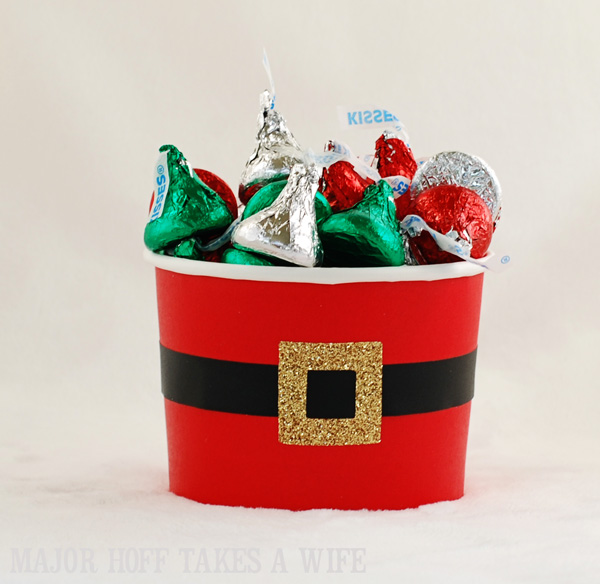 Hershey kisses gifted in Santa Belly Container