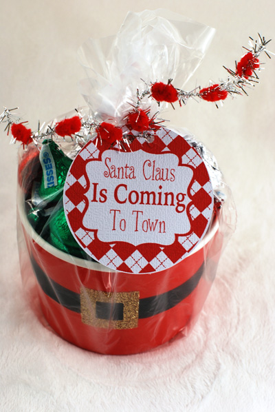 Gift wrapped Santa's belly container