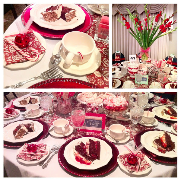 candy cane themed table setting