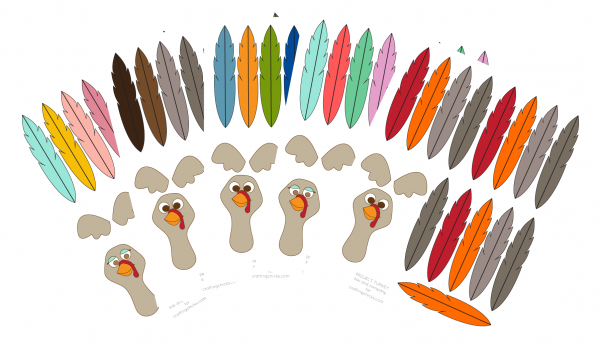 project turkey in 5 color combos. perfect for any thanksgiving activity!