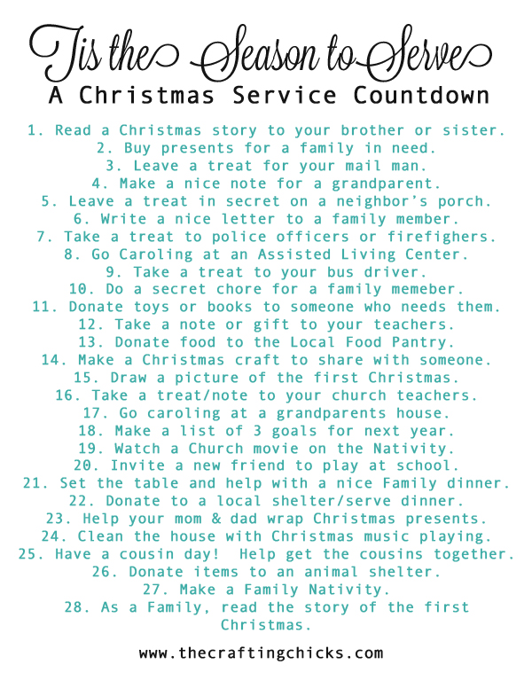Printable Christmas Service Countdown | Family Activity | Kids Activity