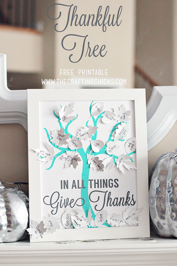 DIY Thankful Tree with Silver Leaves