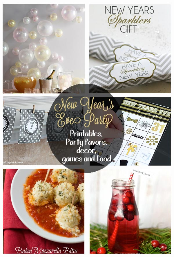 Everything you need for a New Year's Eve Party - printables, decor, party games, appetizers, family friendly drinks, and so much more!