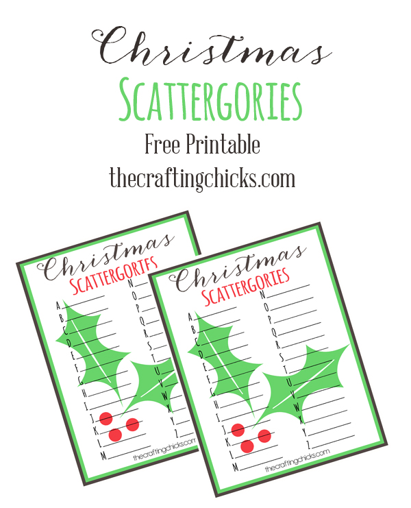 Christmas scattergories free printable game for kids and adults and holiday parties