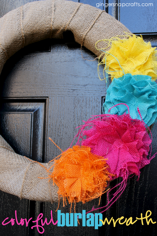 colorful burlap wreath #burlap #wreath