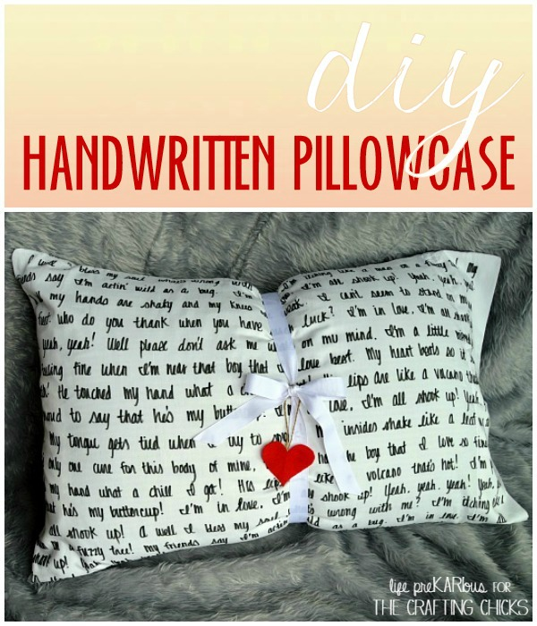 DIY handwritten pillowcase