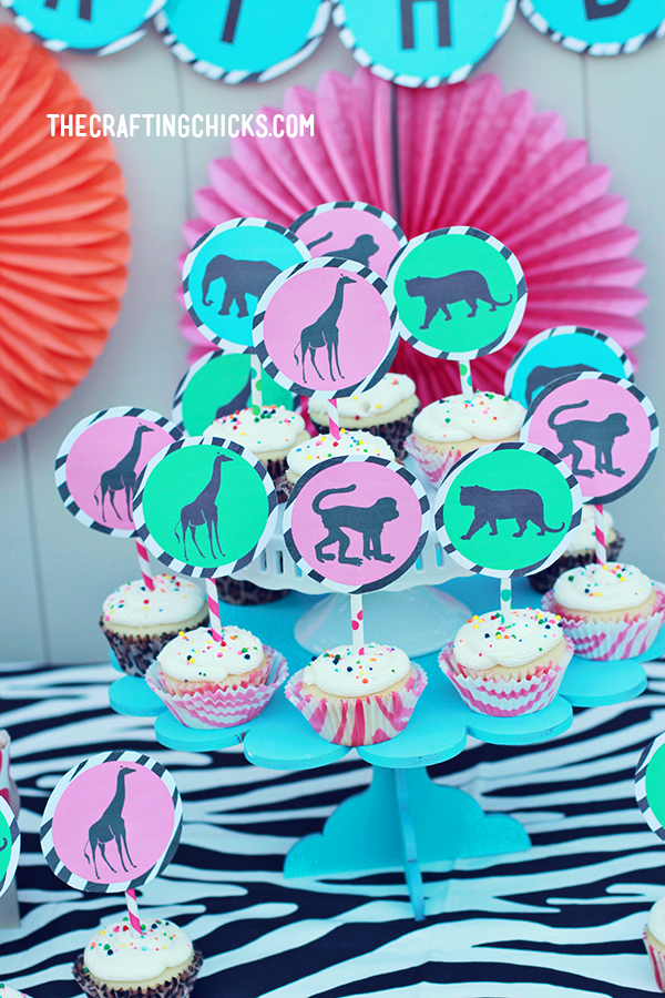 Jungle animals Party Decorations Wild One Cupcake toppers Instant download Printable Digital POD EDITABLE Safari Birthday Cupcake Toppers