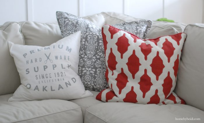 I love the splash of red with that pillow