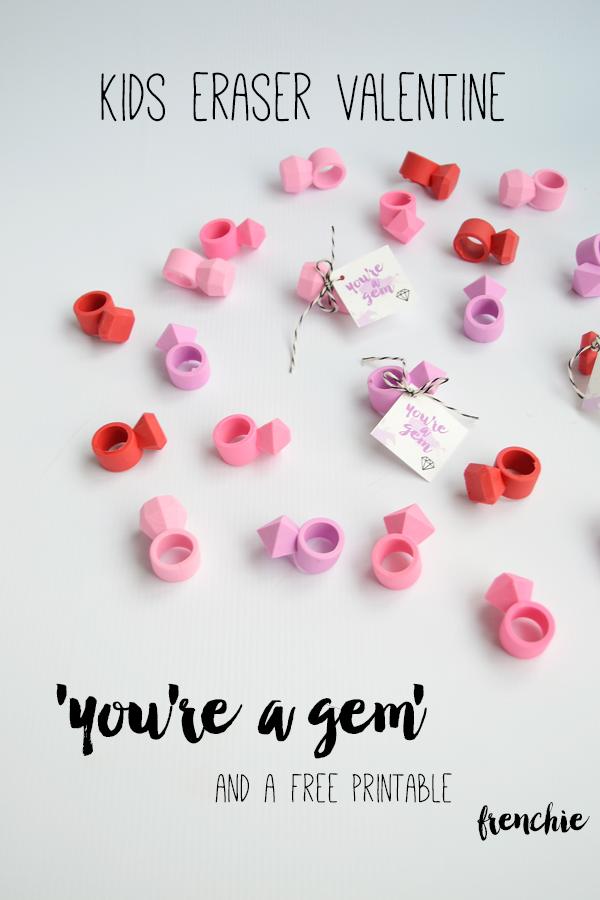 Gem Eraser Valentines