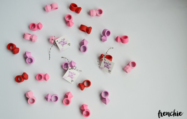 Create these incredible easy gem valentines using diamond erasers from Target and some Twine.