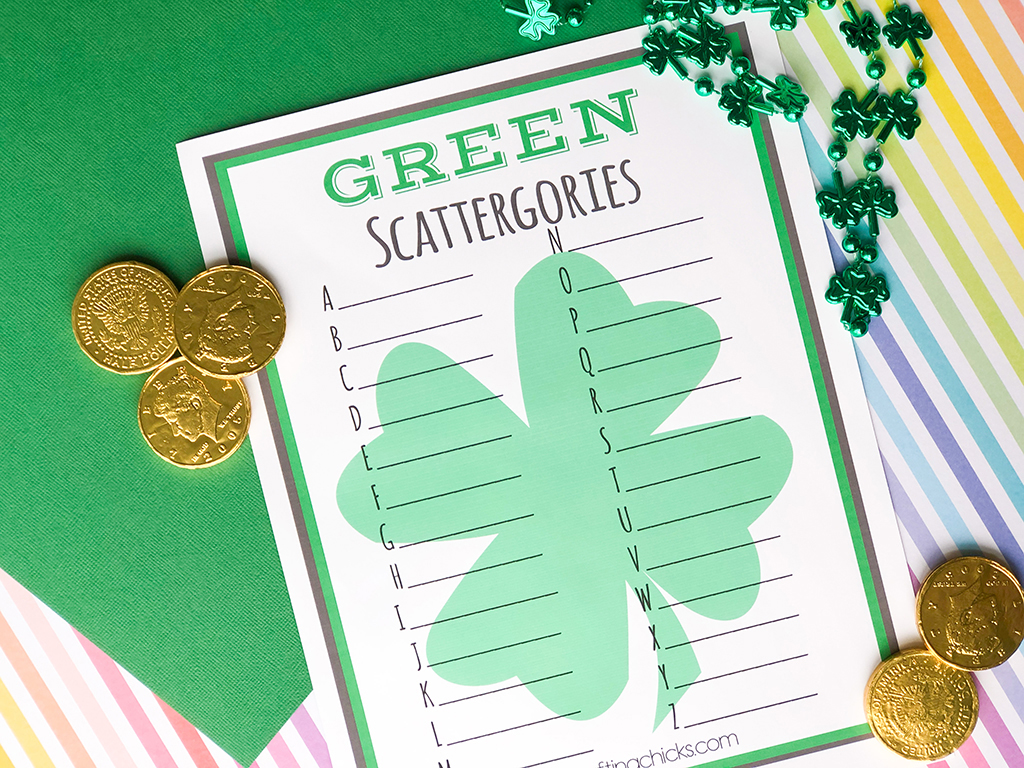 St. Patrick's Day GREEN Scattergories on a green and rainbow background