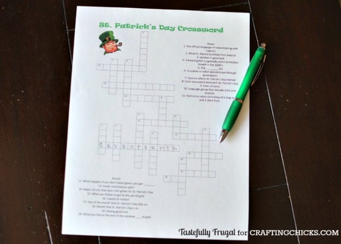 Print your FREE St. Patrick's Day Crossword today!
