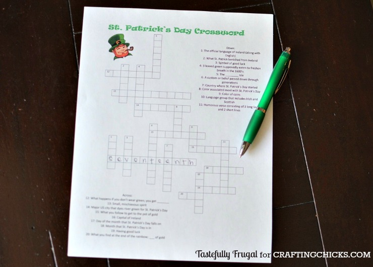 st patrick s day crossword the crafting chicks