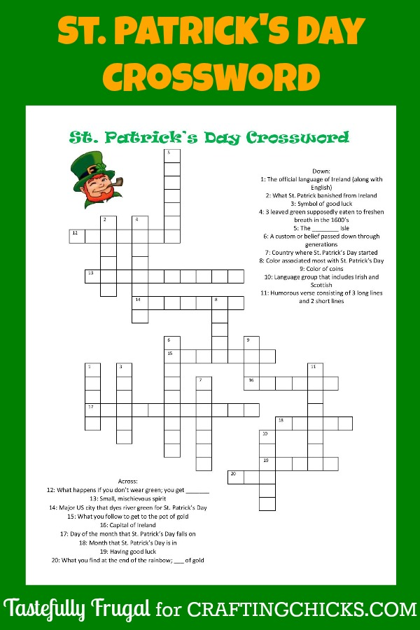 Print your FREE St. Patrick's Day Crossword today! Great for class parties!