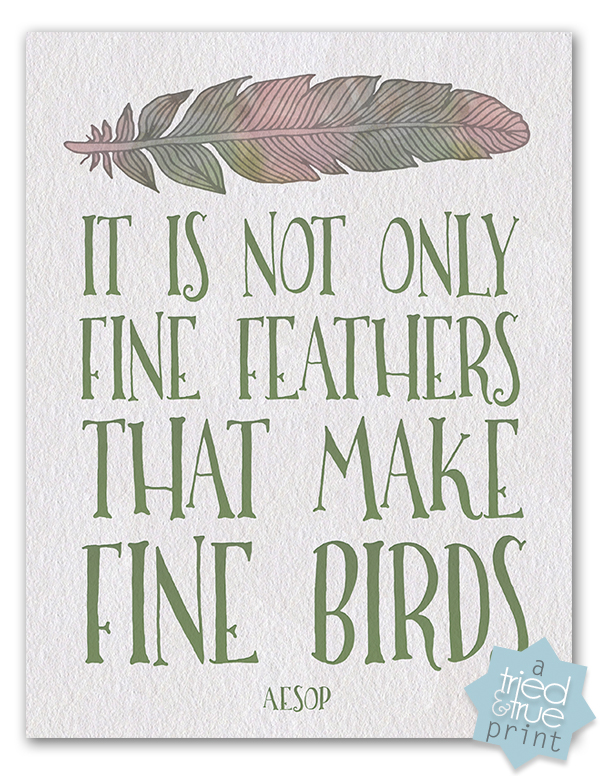 Aesop's Fine Birds Free Printable - Filled