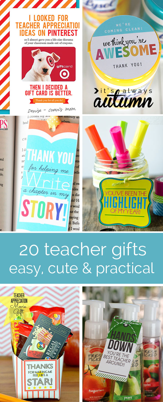 20 cheap, easy, cute & practical teacher appreciation gifts