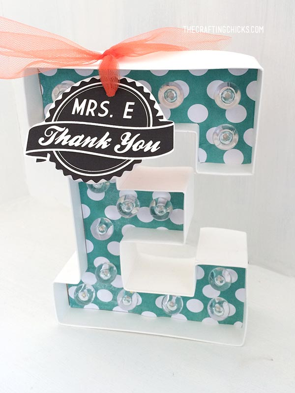 Monogram Marquee Teacher Gift