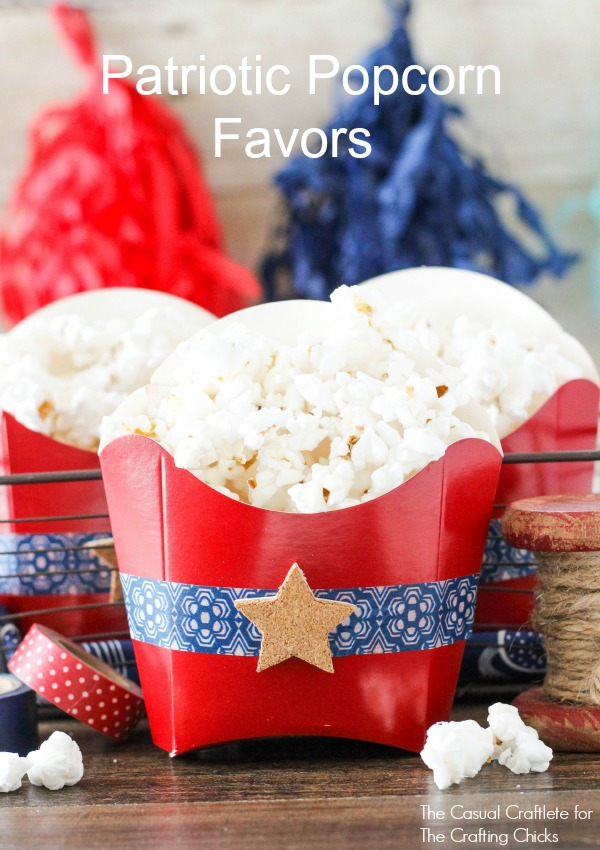 Patriotic Popcorn Favors - homemade popcorn served in red, white and blue favors
