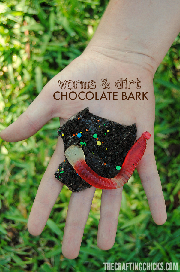 This Worms & Dirt Chocolate Bark is SO cute! What a great boredom buster or rainy day activity!