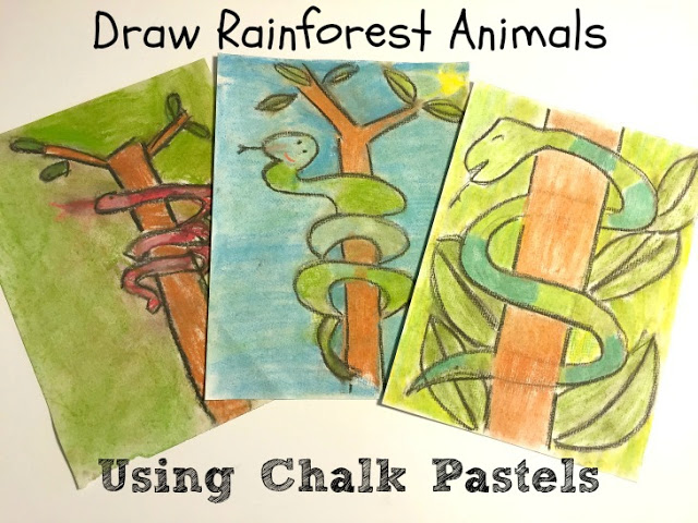 Draw with Chalk Pastels Rainforest Art Activity