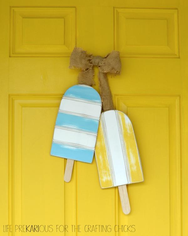 Wooden Creamsicle Door Hanger