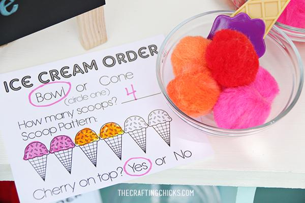 Ice Cream Order printable sheet for kids pretend ice cream shop
