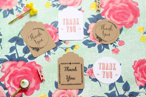 Free Printable Thank You Tags by TheCasualCraftlete.com for TheCraftingChicks.com