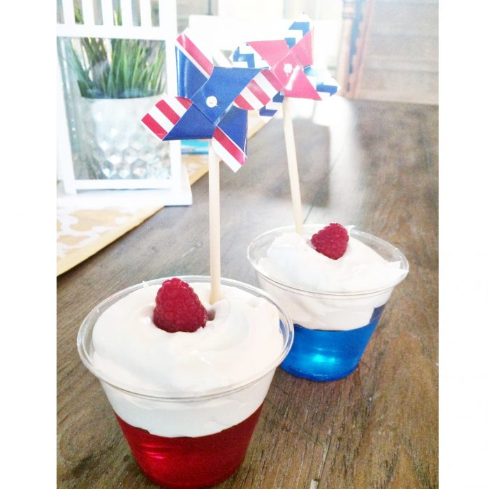 red, white and blue jello parfaits