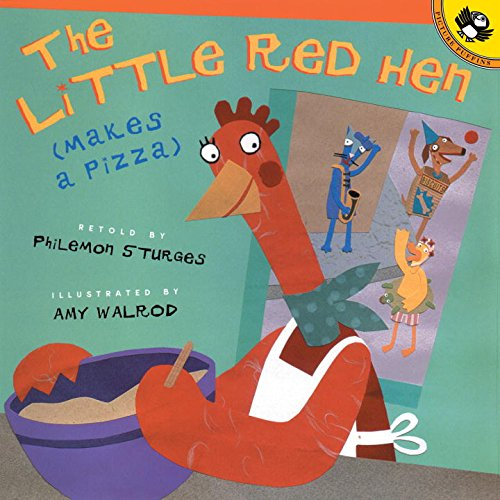 cooking the little red hen makes a pizza