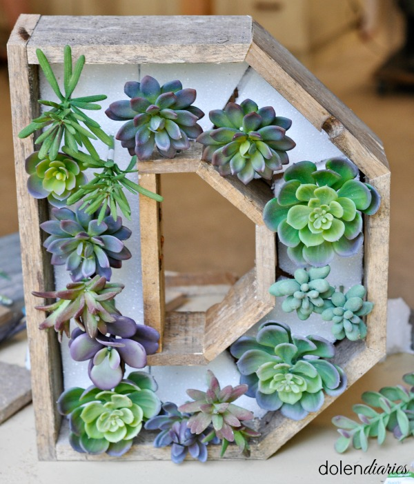faux succulents in a wreath