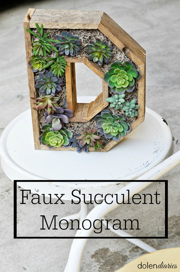 monogram faux succulent wreath